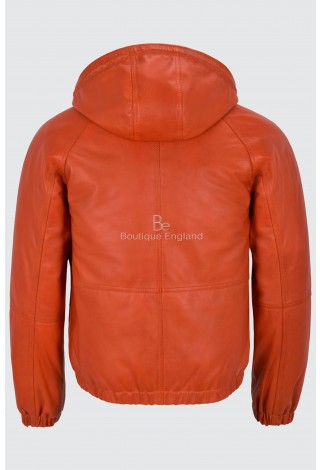 Will Smith Men Sport Look Relax Fit Real Leather Orange Casual Rock Star Jacket 2113