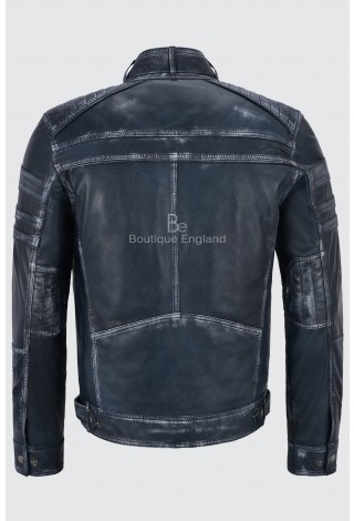 Jason Statham Men's Jacket Brave Action Italian Navy Vintage Real Leather Celebrity Jacket 1106
