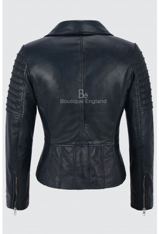 LADIES NAVY NAPA STYLISH FASHION DESIGNER BIKER SOFT REAL LEATHER JACKET 9334