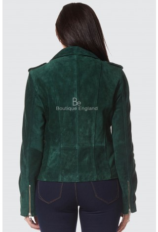 Women's Leather Jacket Green Suede Classic Casual Fashion Biker Style 7113-A