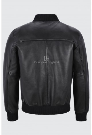 New 70's Men's Retro Bomber Black Front Straight Zip Classic Real Leather Jacket 7055