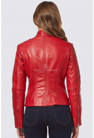'SPEED' Ladies Red Retro Biker Style Fitted Motorcycle Real Leather Jacket SR-01