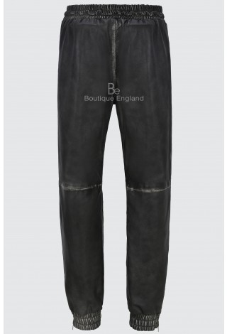 Men's Real Leather Trouser Sweat Track Black Vintage Pant Zip Jogging Bottom 3040