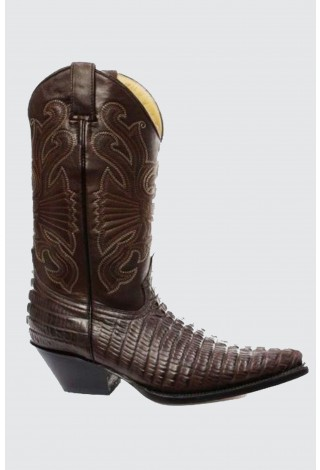 Grinders Carolina Brown Leather Crocodile Tail Boot Cowboy Western Boots