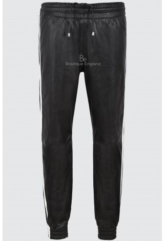 Men's Leather Trouser Black With White Straps Soft Real Napa Jogging Bottom 4051