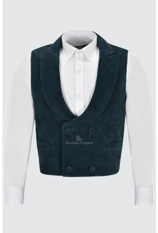 'Edwardian' Suede Leather Waistcoat Navy| Double Breasted Real Leather 3281