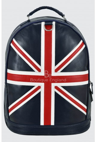 Union Jack Leather Backpack Navy Blue Perforated Classic Style 100% Real Leather