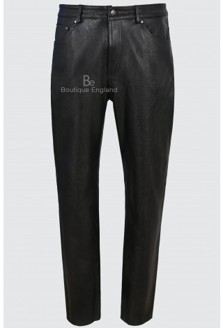 Men's Leather Pants Biker Trouser Black Jeans Style Strong Cowhide Leather 501