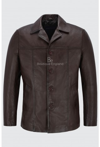 Men's Retro Style Real Leather Brown Lambskin Reefer Jacket Mid Length Coat 4010
