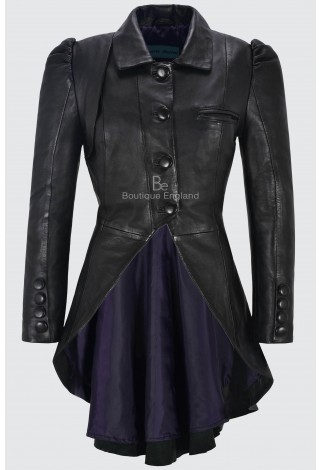 Ladies Black Gothic Dovetail Real Leather Tailcoat Long Slim Fit Fashion Jacket 5003