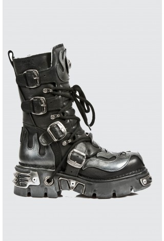 New Rock 107-S2 SILVER SKULL DEVIL UNISEX METALLIC BOOTS ALL SIZES