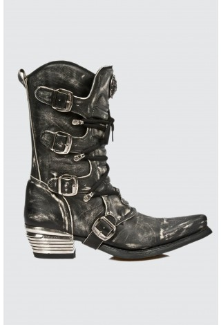 NEWROCK Cowboy Western New Rock M.7993-S3 Rub Off Distressed Leather Goth Boots