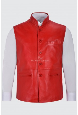 Men's Leather Waistcoat Red Mandarin Collar Indian Ethnic Vest Real Napa 3946