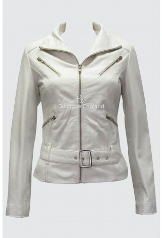 Ladies Fashion Leather Jacket White Biker Style 100% Real Lambskin Leather 7390