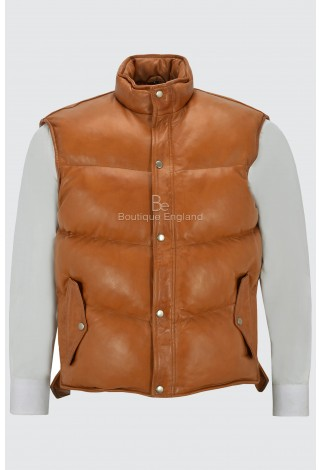 Men's Padded Puffer Tan Gillet Waistcoat Sleeveless Real Genuine Leather Jacket