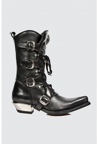 NEWROCK New Rock 7993-C2 Unisex Black Leather Buckle Goth Lace High Zip Boots