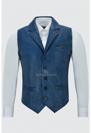 Men's Leather Waistcoat Blue Napa Party Fashion Casual Business Vest 1349