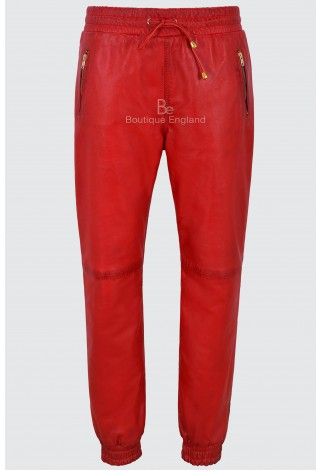 Men's Leather Trousers Red Napa Sweat Track Pant Zip Jogging Bottom 3040