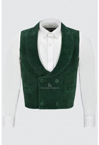 Edwardian' Suede Leather Waistcoat Green| Double Breasted Real Leather 3281