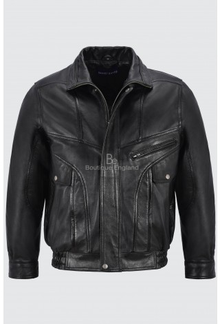 Men's Vintage Leather Jacket Black Classic Rough Biker Style Real Lambskin 8553