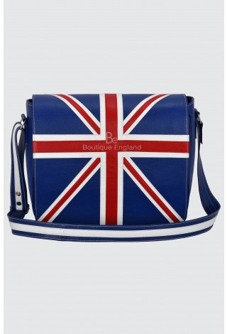 Leather Cross Body Unisex Bag Union Jack Blue Laptop,Satchel, Messenger Bag 2760