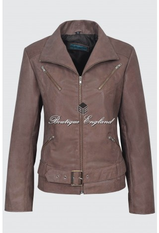 Ladies Fashion Leather Jacket Vintage Brown Biker Style 100% Real Lambskin Leather 7390