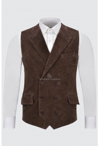 Men's Classic Leather Waistcoat Brown Suede Double Breasted Jude Dapper 1642