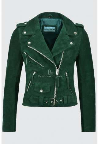 Ladies Brando Leather Jacket Green Suede Fitted Biker Motorcycle Style MBF