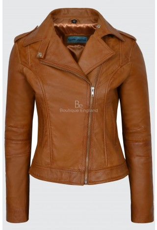 Ladies's Brando Real Leather Jacket Tan Napa Biker Motorcycle Style 442