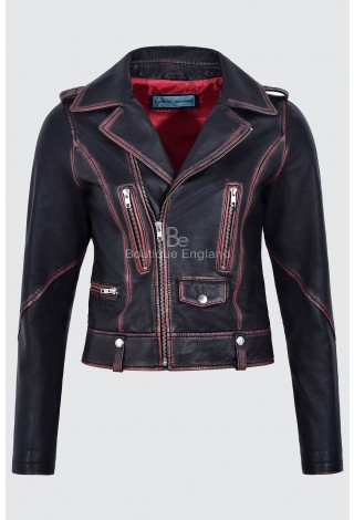 Women's Leather Jacket Black Rub Off Wax Biker Motorcycle Style New Fashion 4569