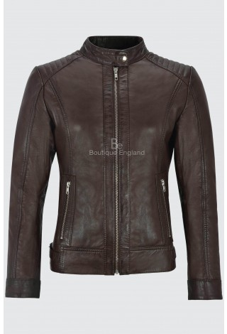 Ladies Fashion Leather Jacket Biker Brown Retro Padded Style Real Lambskin 4550