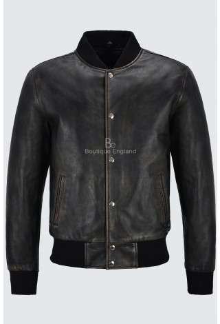 Men's Varsity Leather Jacket Black Rub Off Classic Bomber Style 100% Real Leather