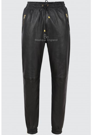 Men's Leather Trouser Black Napa Sweat Track Pant Zip Jogging Bottom 3040