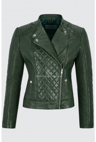 Ladies Leather Jacket Green Biker Style Fitted Diamond Shape Front Panel