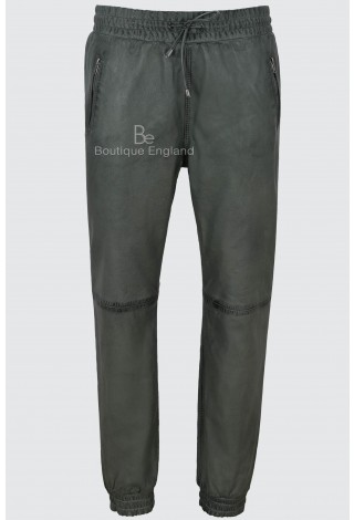 Men's Real Leather Trousers Grey Napa Sweat Track Pant Zip Jogging Bottom 3040