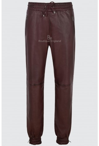 Men's Leather Trousers Cherry Napa Sweat Track Pant Zip Jogging Bottom 3040