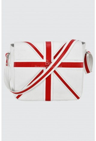 Leather Cross Body Unisex Bag Union Jack White Laptop,Satchel,Messenger Bag 2760