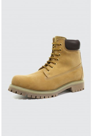 Grinders Brixton Unisex yellow Leather Upper Lace Up Ankle Boots Rugged Sole