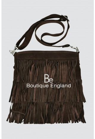 New Ladies 2021 Brown Messenger Bag Tassel Fringe Cross Body Women Shoulder Handbag Real Suede Leather