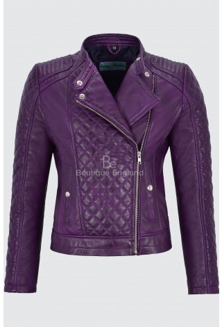 Ladies Leather Jacket Purple Biker Style Fitted Diamond Shape Front Panel