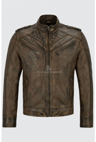 Men's Leather Jacket Dirty Brown Quilted Design Biker Motorcycle Style 100% Real Napa 2414