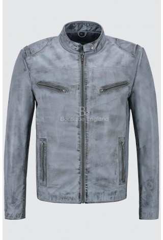 Men's Light Blue Retro Biker Style Motorcycle Strong Buffalo Leather Jacket SR-02