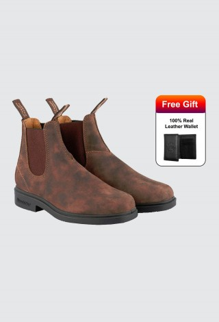 Blundstone 1306 Chelsea Boots Unisex Chisel Toe Rustic Brown Nubuck Leather Boot