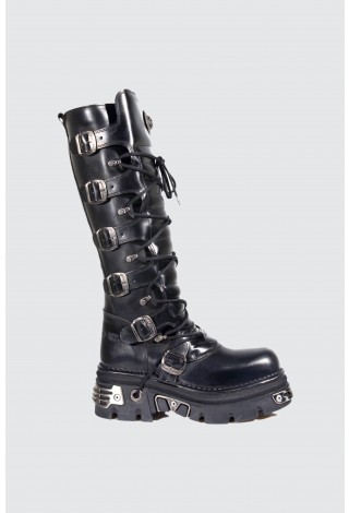 New Rock 272-S1 UNISEX METALLIC BLACK GOTH KNEE HIGH ZIP LEATHER BUCKLE BOOTS