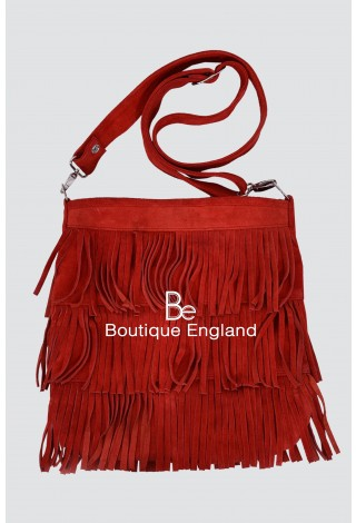 New Ladies 2021 Red Messenger Bag Tassel Fringe Cross Body Women Shoulder Handbag Real Suede Leather