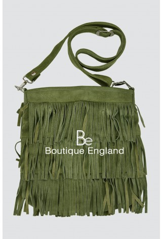 New Ladies 2021 Olive Green Messenger Bag Tassel Fringe Cross Body Women Shoulder Handbag Real Suede Leather