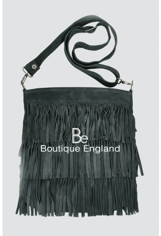 New Ladies 2021 Grey Messenger Bag Tassel Fringe Cross Body Women Shoulder Handbag Real Suede Leather