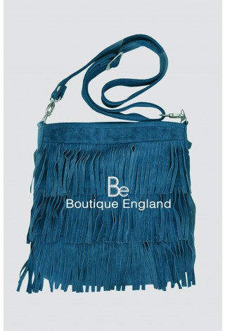 New Ladies 2021 Light Blue Messenger Bag Tassel Fringe Cross Body Women Shoulder Handbag Real Suede Leather