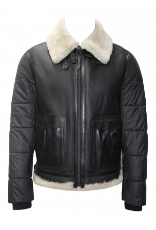 Men's B3 Bomber Shearling sheepskin Jacket Black Beige Fur With Fabric Real 100% Leather Jacket Kypling P-114