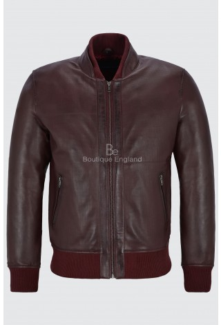Mens Bomber Leather Jacket Cherry Perforated Retro Style 100% Real Napa 4348